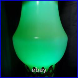 Art Deco Pair Of Jadeite Jefferson Glass Boudoir Hurricane Lamps Rare Glows