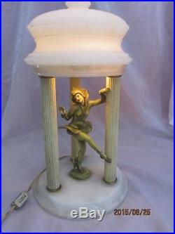 Art Deco Pixie Dancer Alabaster Lamp by Ignacio Gallo