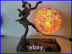 Art Deco Pixie Dancer Lamp Millefiori Globe