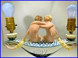 Art Deco Rare F. Goldscheider Made In Austria Figural Girls Holding Flowers Lamp
