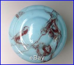 Art Deco Ribbed Light Blue Black Slag Marbled Cased Glass Lamp Shade Globe