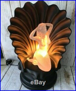 Art Deco Rotating Lucite Nude Mermaid Color changing Black Seashell Lamp VTG