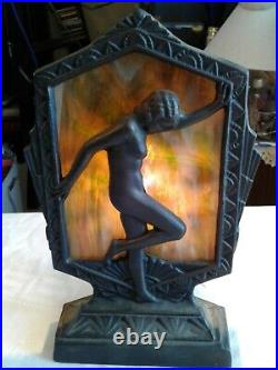 Art Deco Sarsaparilla Style nude nymph flapper girl boudoir metal lamp with slag