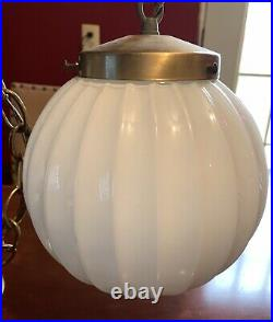 Art Deco Satin Milk Glass Shade Ceiling Light Fixture Lamp, Brass Globe
