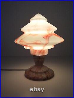 Art Deco Scailmont Glas Tischlampe Table Lamp Belgium um 1930 Selten Rar