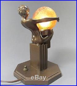 Art Deco Lamp » Art Deco Signed FRANKART Nude Figural Lamp