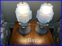 Art Deco Skyscraper Pattern Blue Glass Boudior Lamps Rare Pair