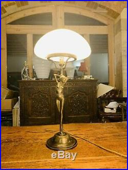 Art Deco Solid Bronze & Opaline Milk Glass Shade Table Lamp, Handmade Italian