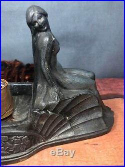 Art Deco Spelter Desk Lamp 2 Nudes For Repair All Original 7M