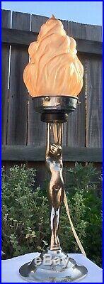 Art Deco Stepped Chrome Nude Lady Diana Lamp & Pink Flame Glass Light Shade