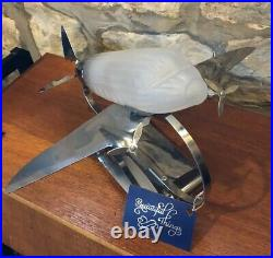 Art Deco Style Chrome And Frosted Glass Airplane Design Table Lamp