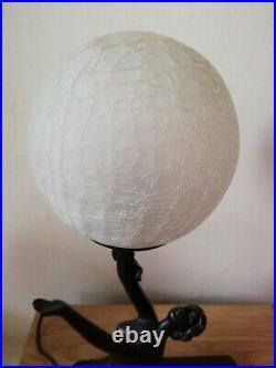 Art Deco Style Kneeling Semi Nude Lady Holding Globe Table Lamp