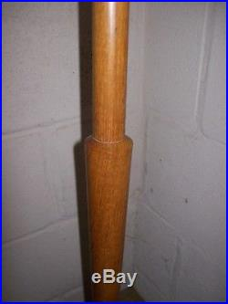 Art Deco Styled Large Polished Medium Oak One Piece Turned Standard/Floor Lamp