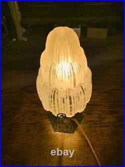 Art Deco Table Lamp By SABINO Waterfall Signed 1920s, Edgar Brandt Ironwork