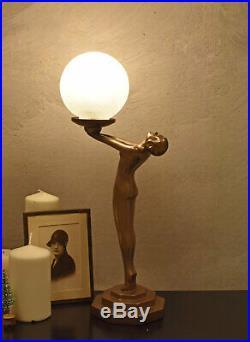 Art Deco Table Lamp Women Female erotic Bauhaus Art Nouveau Figurine 19`