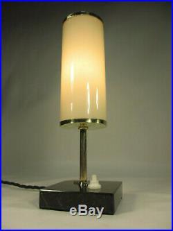 Art Deco Tubus Röhren Lampe Alte Tischlampe 29cm Antik Tischleuchte Marmorfuß