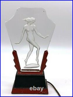 Art Deco Very Rare Nude Figurine Deep Etched Glass Radio/night Lamp