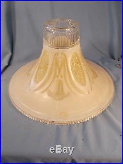 Art Deco Vintage antique Embossed Torchiere fFloor Lamp Shade globe glass light