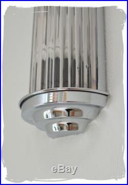 Art Deco Wall Lamp Cinema Lamp With Glass Sticks Chromed Wall Light Metal New
