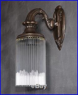 Wandlampe Jugendstil Wandleuchte Antik Messing Lampe Glas Matt Art déco Edel NEU