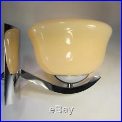 Art Deco Wandleuchte Antik Wandlampe Chromhalterung 60er Lampe Glasschale