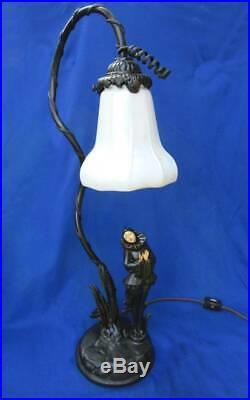Art Deco bronze poirot girl figural lamp Steuben aurene calcite Art Glass shade