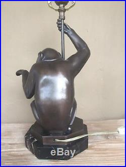 Art Deco bronze seated Monkey Lamp. Max Le Verrier artist signed