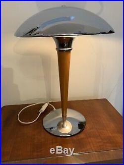 Art Deco design TischLampe Schreibtisch Titan Lightning chrom Holz ca 60er. 70er