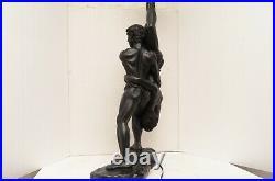 Art Deco nouveau style Acrobat nude male table lamp Black resin LG figural light