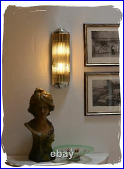 Art Deco sconces wall lamp cinema glass sticks chromed metal 20 inches wired