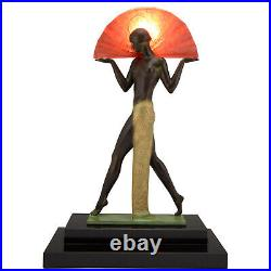 Art Deco style lamp Espana Spanish dancer with fan Guerbe for Max Le Verrier