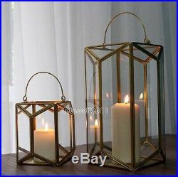 Art Decor Geometry Cooper Finish Metal Glass Candle Lantern Holder Stand 3 Sizes