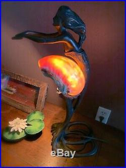 Art Nouveau Bronze Alphonse Mucha Mermaid Woman Sea Shell Table Lamp