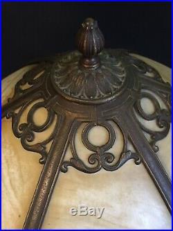 Art Nouveau Deco Slag Stained Glass 6 Six Pannel Miller Lamp Tiffany Era Vintage
