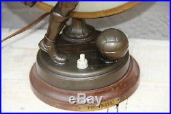 Art deco 1930 French antique table lamp spelter bronze soccer sport n2