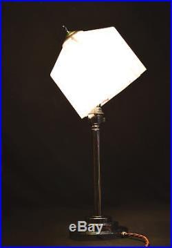 Art deco 1940s desk lamp stepped base Geometric Shade tilt adjust harp carrier