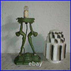 Art deco Frankart green spelter nude lady skyscraper Spritzdekor glass lamp 1930