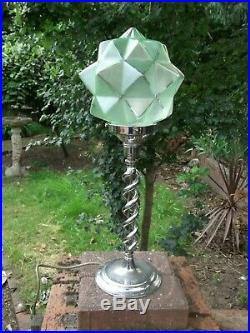 Art deco barley twist chromed finish table lamp Green glass star shade WO