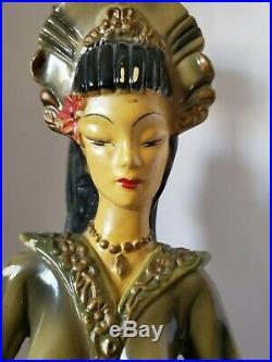 Atq Mid Century Art Deco Continental Art Co. Oriental Lady Chalkware Lamp
