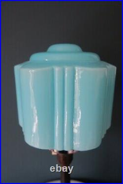 Authentic Art Deco Bakelite/ Phenolic Table Lamp With Blue Glass Shade