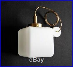 Bauhaus Art Deco messing Opalglas Deckenlampe Deckenleuchte 40er 50er Jahren, B2