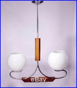 Bauhaus Chandelier 1930 Art Deco Pendant Lamp Light Fixture Ceiling Wood Glass
