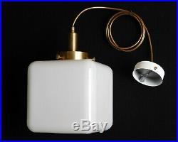 Bauhaus brass opal glass ceiling lamp vintage Art Deco pendant hanging light B2