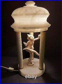 Beautiful Alabaster 1930s Art Deco Gerdago Gazebo Pixie Lamp