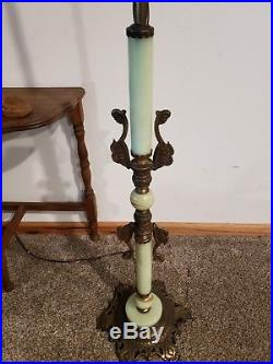 Beautiful Antique 1930s Green Slag Marble / Jadeite Glass Art Deco Floor Lamp