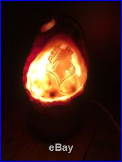Beautiful Art Deco Lady Bust Hand Carved Cameo Conch Sea Shell Night Light Lamp