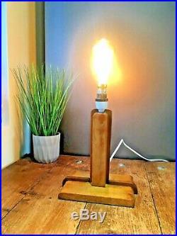 Beautiful Two Tone Art Deco Oak Wooden Desk Table Lamp Base Geometric Vintage