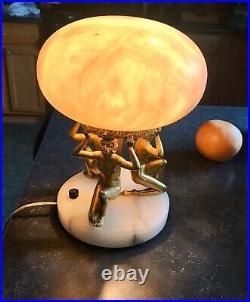 Beautiful Vintage Alabaster Art Deco Nude Lady Sculpture Lamp