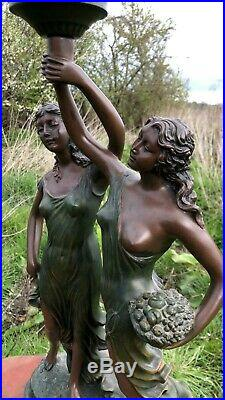 Beautiful Widdop Bingham & Co Art Deco Style Naked Ladies Lamp Glass Shade