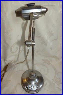 art deco lamp belle ancienne lampe de bureau pirouette poque art d co acier chrom. Black Bedroom Furniture Sets. Home Design Ideas